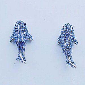 Kate Spade Full Diamond Blue Whale Earrings